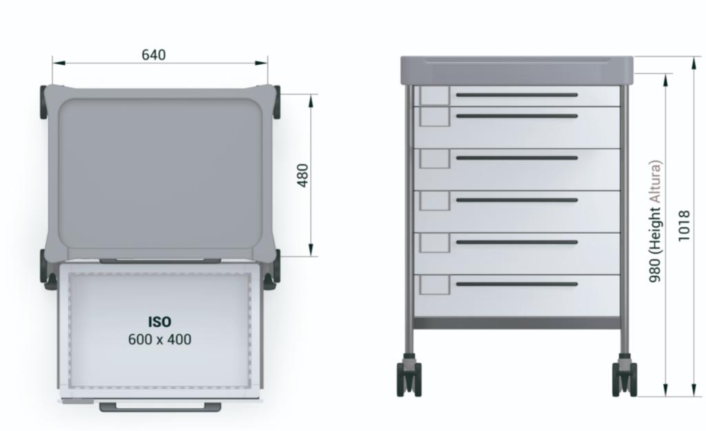 Медицинская тележка малой подвижности для анастезиии 3607MRI G